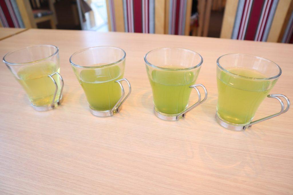 浅蒸し茶、深蒸し茶、あさつゆ、玉露の飲み比べ