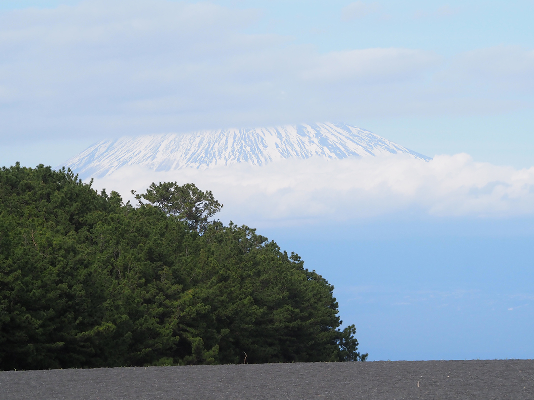 三保の松原_雲に覆われた富士山